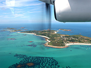 Arial shot of the tropical oasis of Scilly