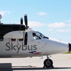 The Skybus dropping off happy passengers